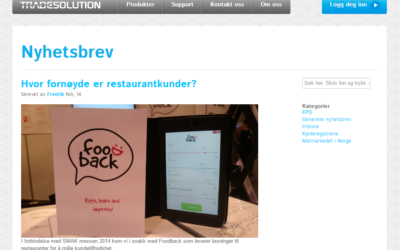 Foodback featured on tradesolution.no